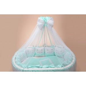 Комплект c юбкой в круглую и овальную кроватку Котики