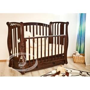 Детская кроватка Можга (Красная звезда) Ярослава С-551 декор №3  Бабочка (маятник продольный)